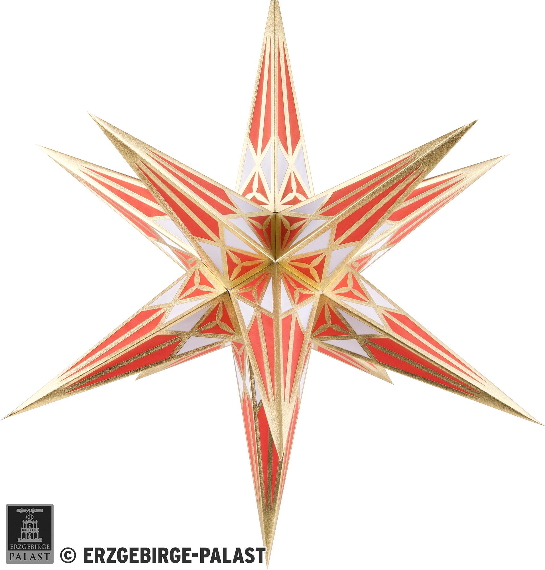 Hartensteiner Weihnachtsstern Für Innen - Weiß-Rot Mit Gold - 68 Cm über Weihnachtsstern Bild