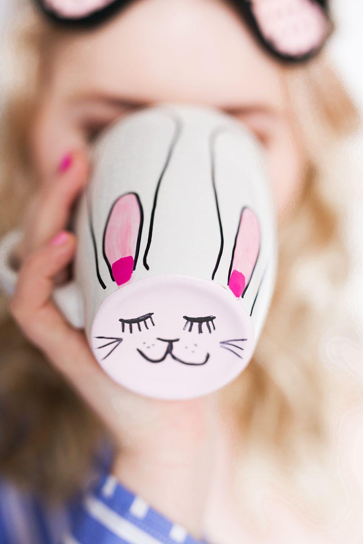 Hasen Tasse - Diy Oster Ideen | Hase, Osterhase Und Kreativ für Osterhasen Gesicht