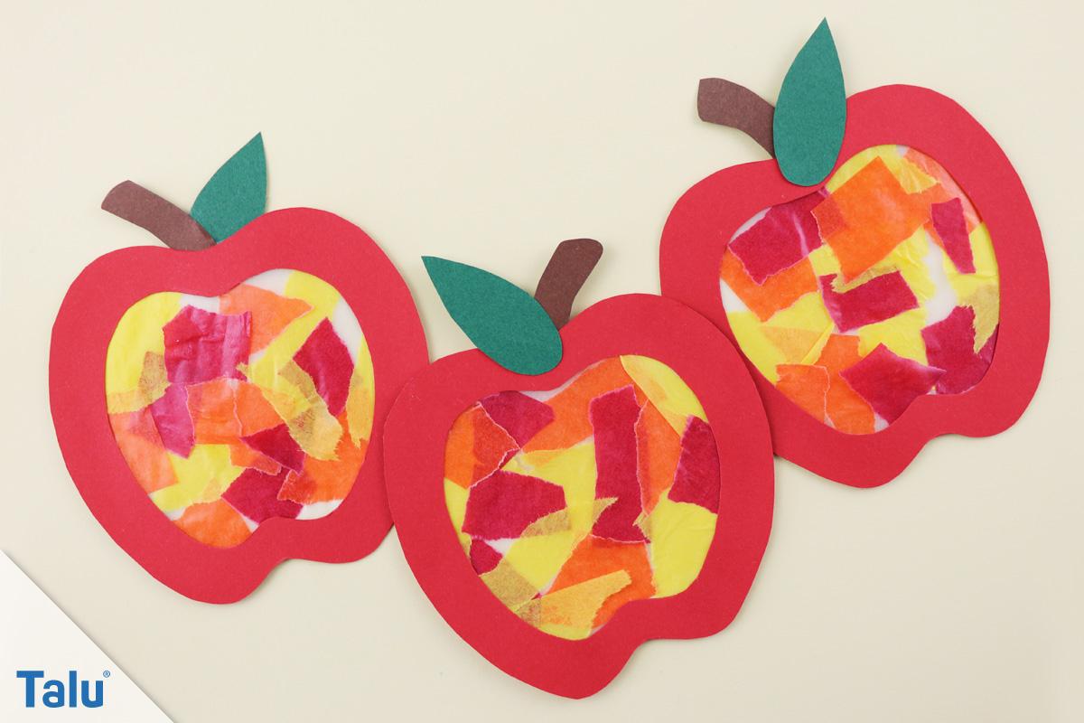 Herbst-Fensterdeko Selber Machen - Anleitung Und Kreative innen Bastelvorlage Apfel