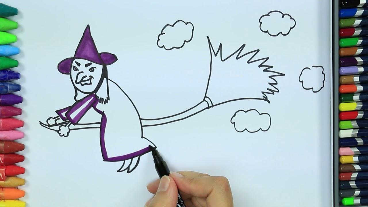 Hexe Malvorlagen ✴ | Wie Zeichne | Malbuch | Farben Für Kinder Lernen |  Zeichnen Und Ausmalen in Hexe Zum Ausmalen