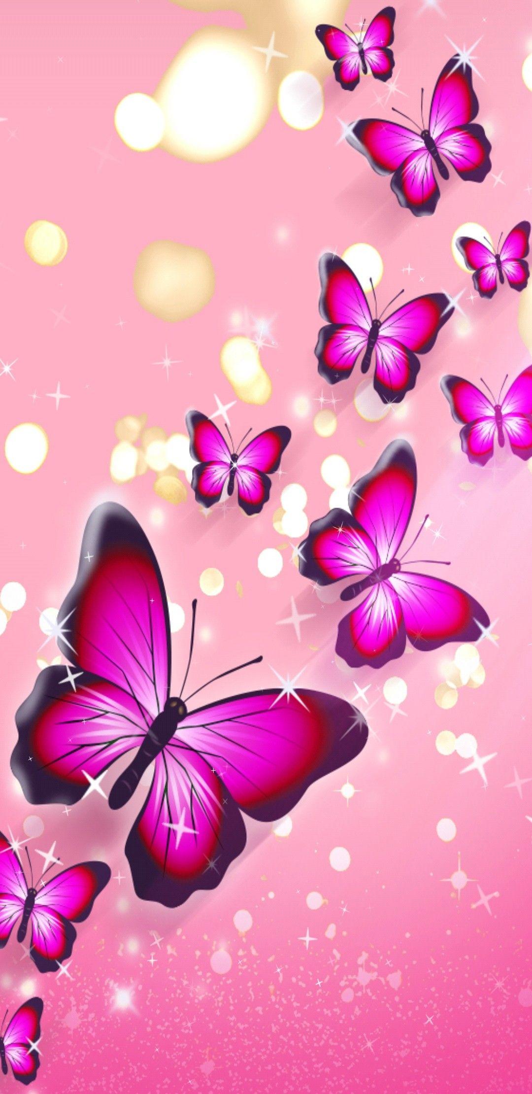 Hintergrund - Rosa Mit Pinkfarbenen Schmetterlingen (Mit innen Hintergrundbilder Blumen Und Schmetterlinge