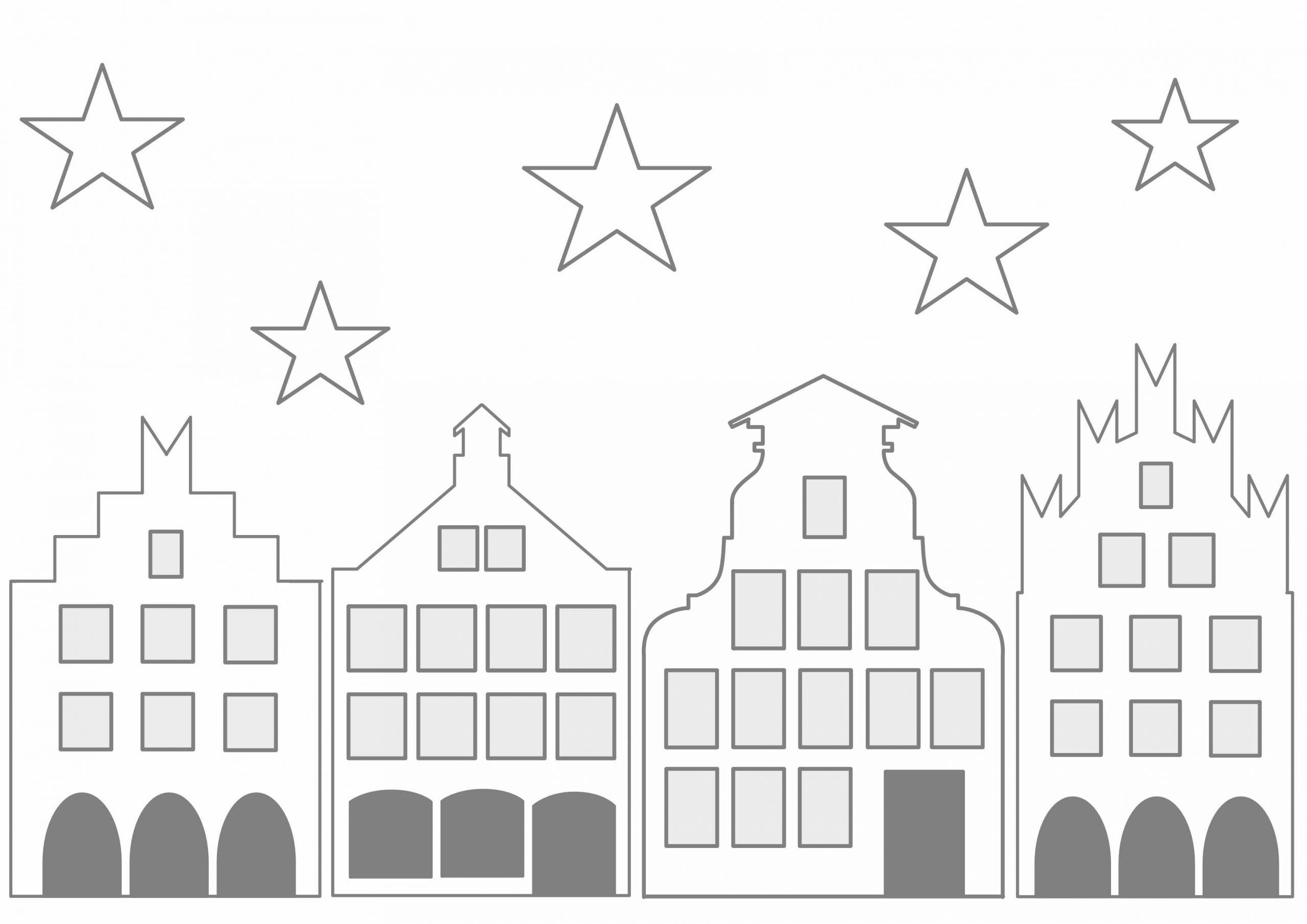 Historisches Städtchen Zum Ausdrucken | Fensterbilder mit Fensterbilder Weihnachten Vorlagen Transparentpapier