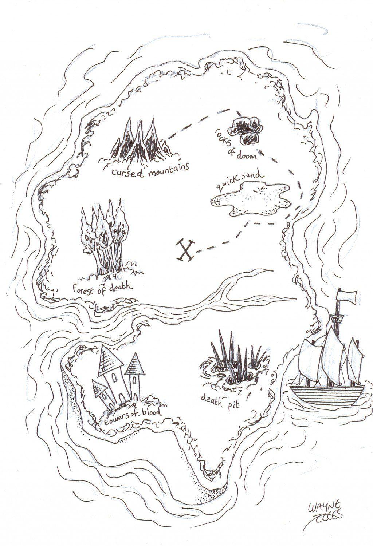 How To Draw A Pirate Treasure Map | Piratenkarten bestimmt für Schatzkarte Malvorlage