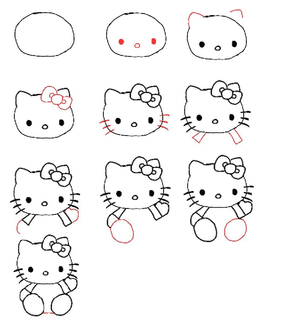 How To Draw Hello Kitty For Kids. (Mit Bildern in Hello Kitty Zeichnen