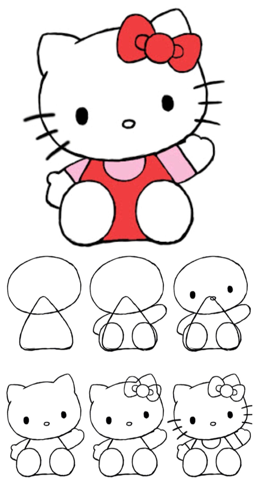 How To Draw Hello Kitty (Mit Bildern) | Einfache Niedliche für Hello Kitty Zeichnen