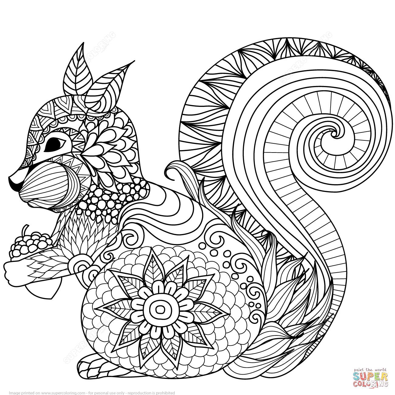 Hübsches Eichhörnchen Zentangle | Super Coloring bestimmt für Eichhörnchen Zum Ausmalen