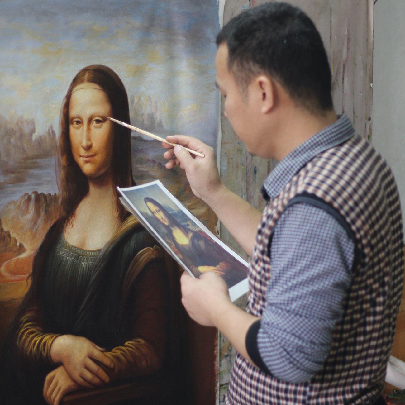 Hui Liu Malt Leonardo Da Vinci – Mona Lisa in Wann Hat Leonardo Da Vinci Die Mona Lisa Gemalt