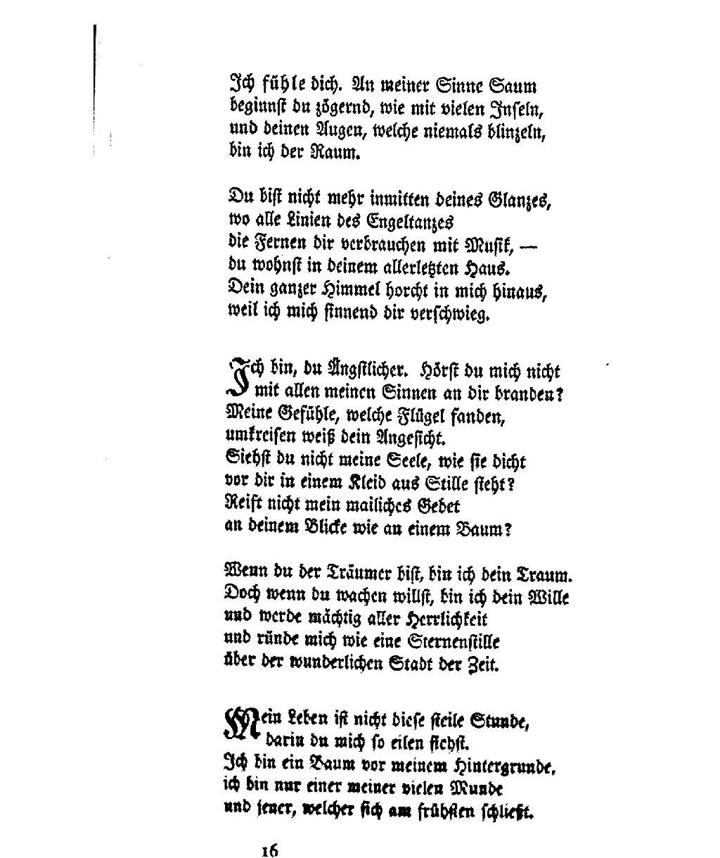Ich Bin, Du Ängstlicher - Rainer Maria Rilke   Literatpro verwandt mit Ich Bin Ich Und Du Bist Du Gedicht