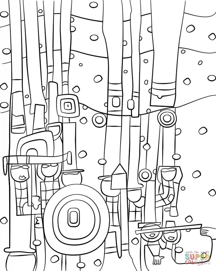 Image Result For Hundertwasser Colouring (Mit Bildern für Hundertwasser Zum Ausmalen