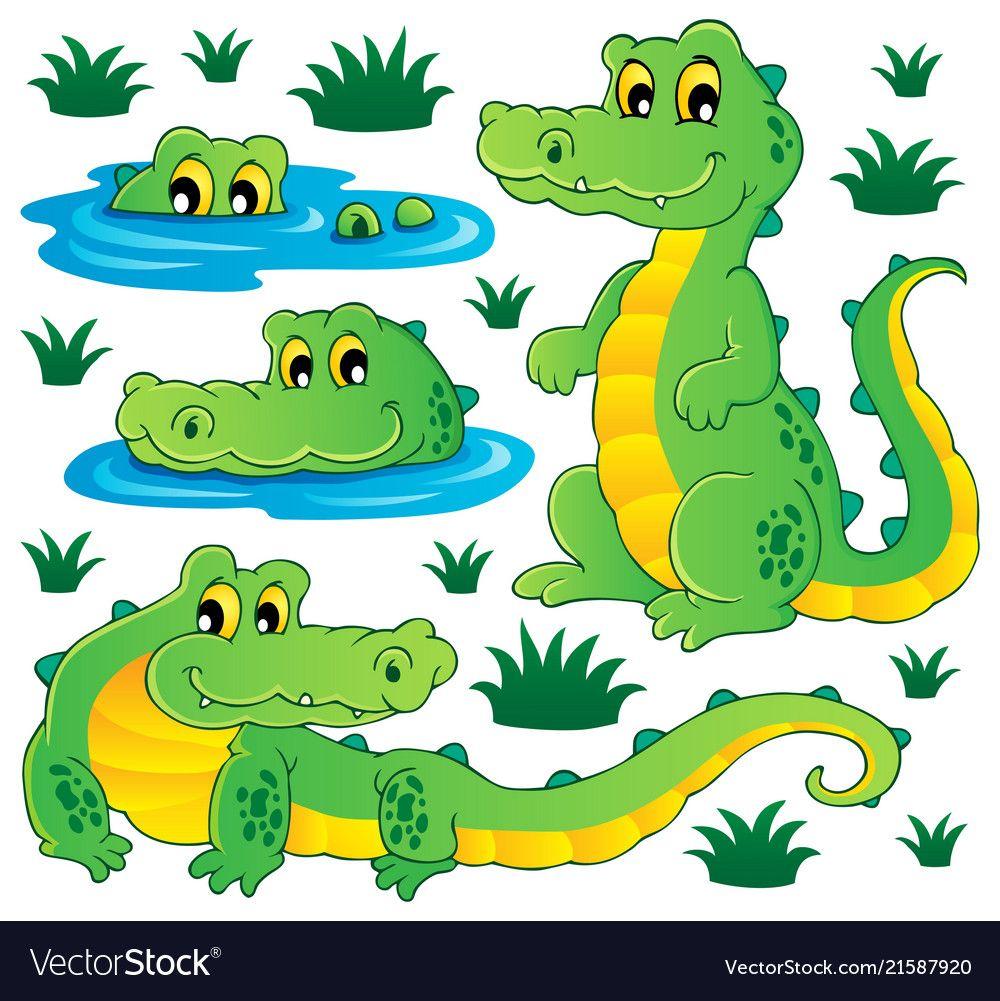 Image With Crocodile Theme 3 Vector Image On (Mit Bildern über Krokodil Bilder Für Kinder