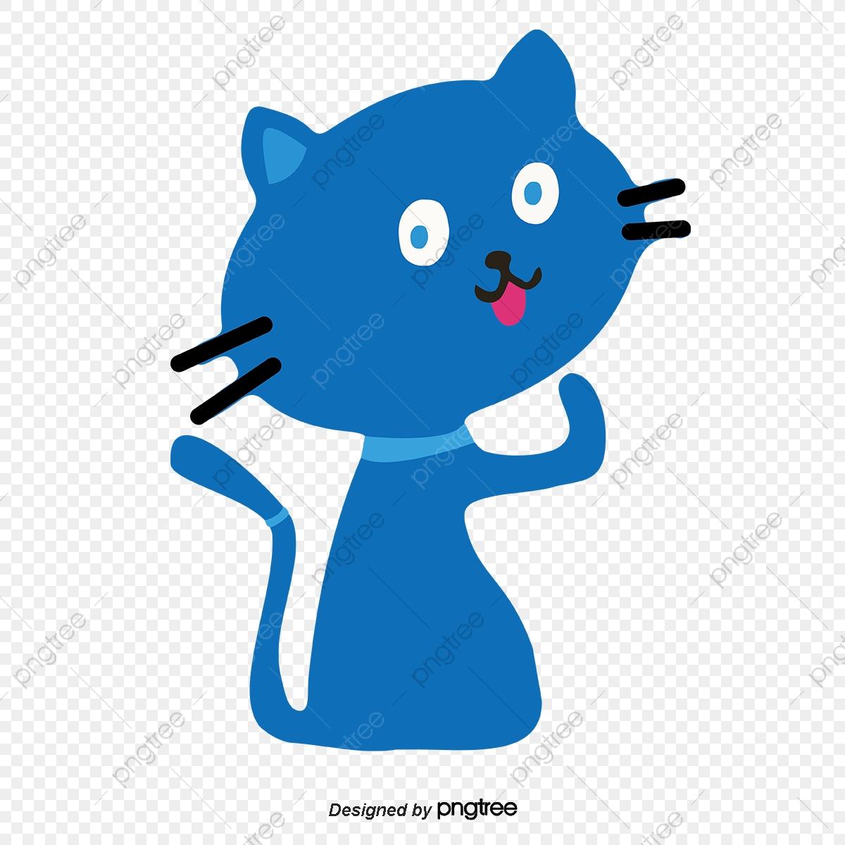 Japanische Zeichentrick Katze Blau Illustration, Cartoon in Süße Zeichentrick Bilder