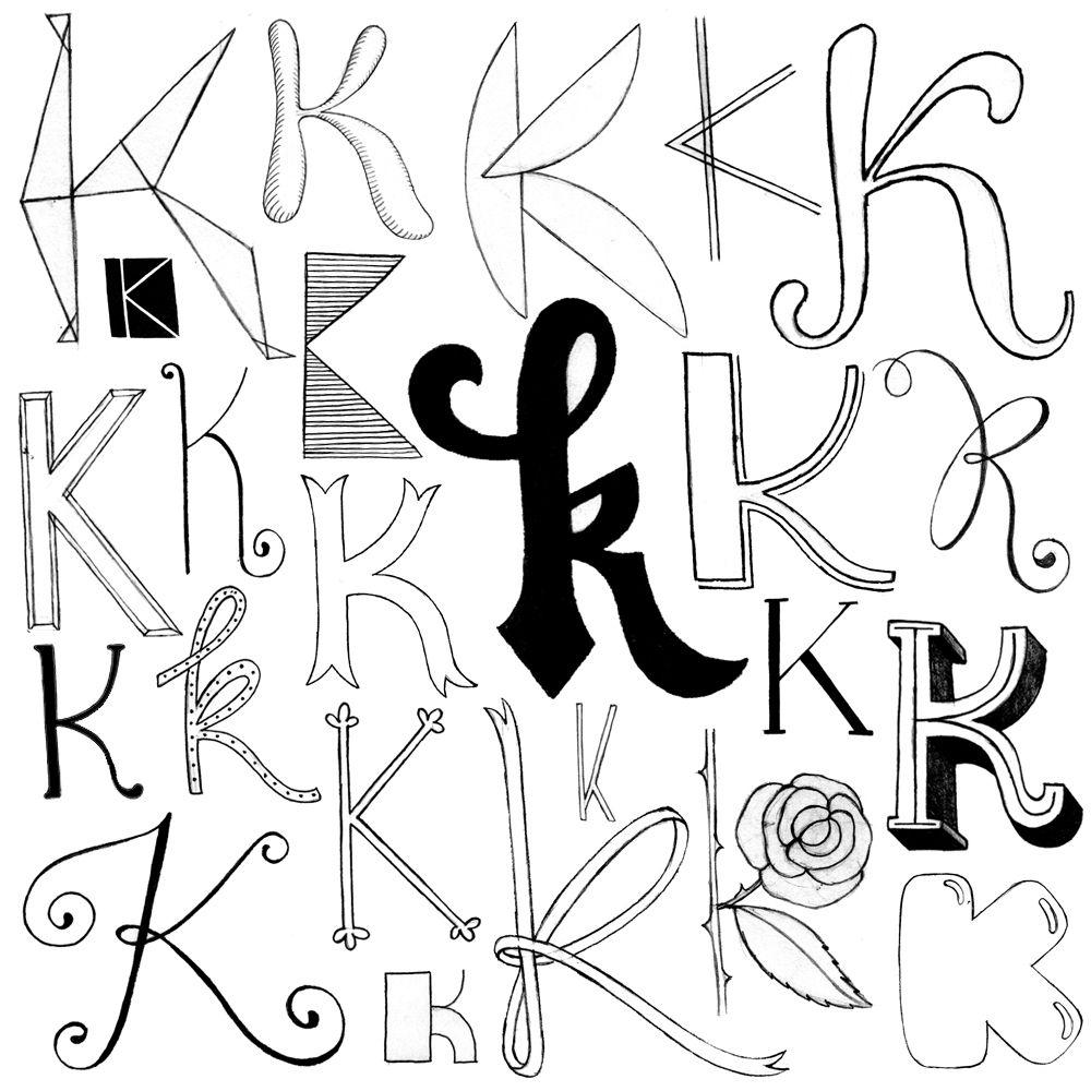 K By Abi Hall   Handlettering, Schriftdesign, Schrift Design in K Schreibschrift