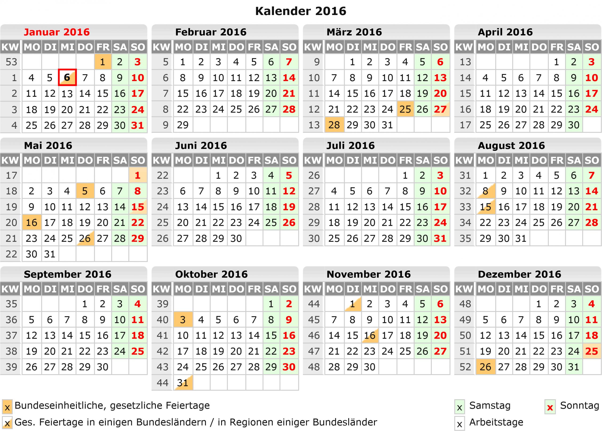Kalender 2016 Zum Ausdrucken Kostenlos für Jahreskalender 2016 Zum Ausdrucken