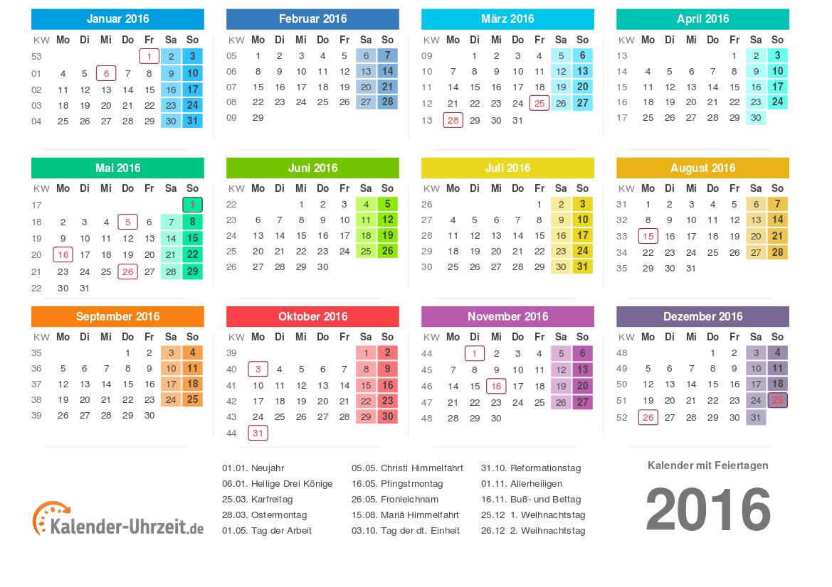 Kalender 2016 Zum Ausdrucken - Kostenlos in Jahreskalender 2016 Zum Ausdrucken