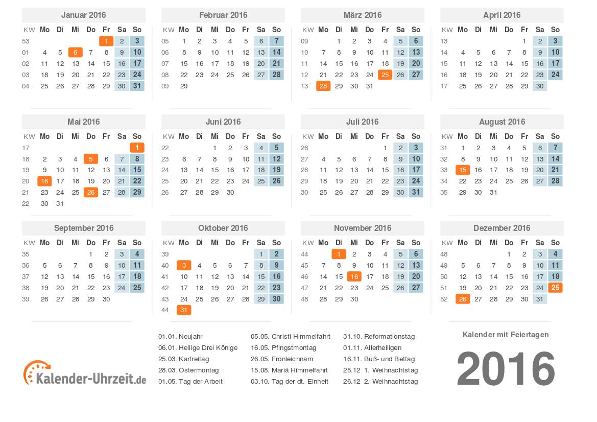 Kalender 2016 Zum Ausdrucken - Kostenlos über Kalender 2016 Kostenlos Ausdrucken