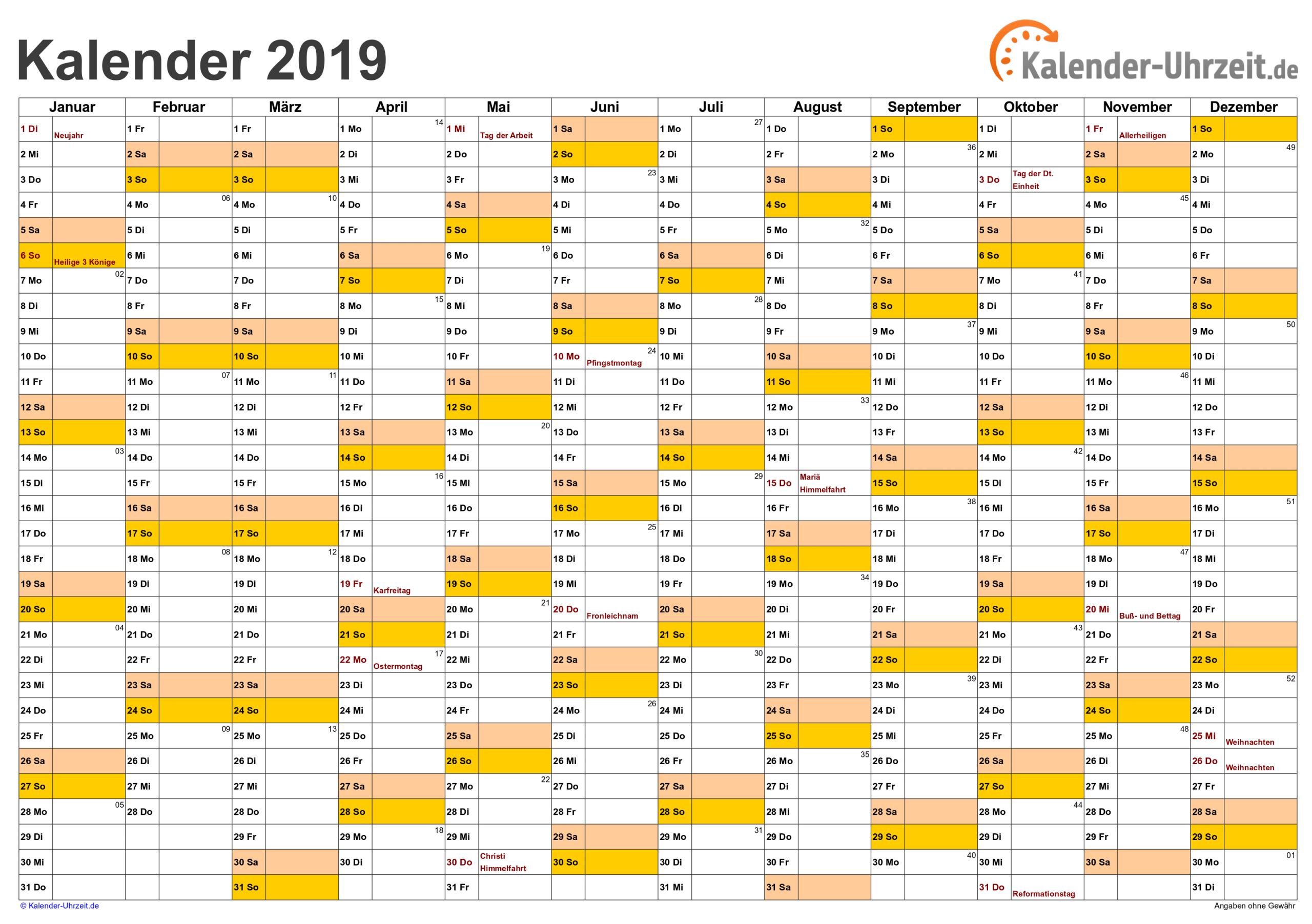 Kalender 2019 Zum Ausdrucken. Gratis Vorlagen Zum Download bei Kostenlose Kalender Zum Ausdrucken
