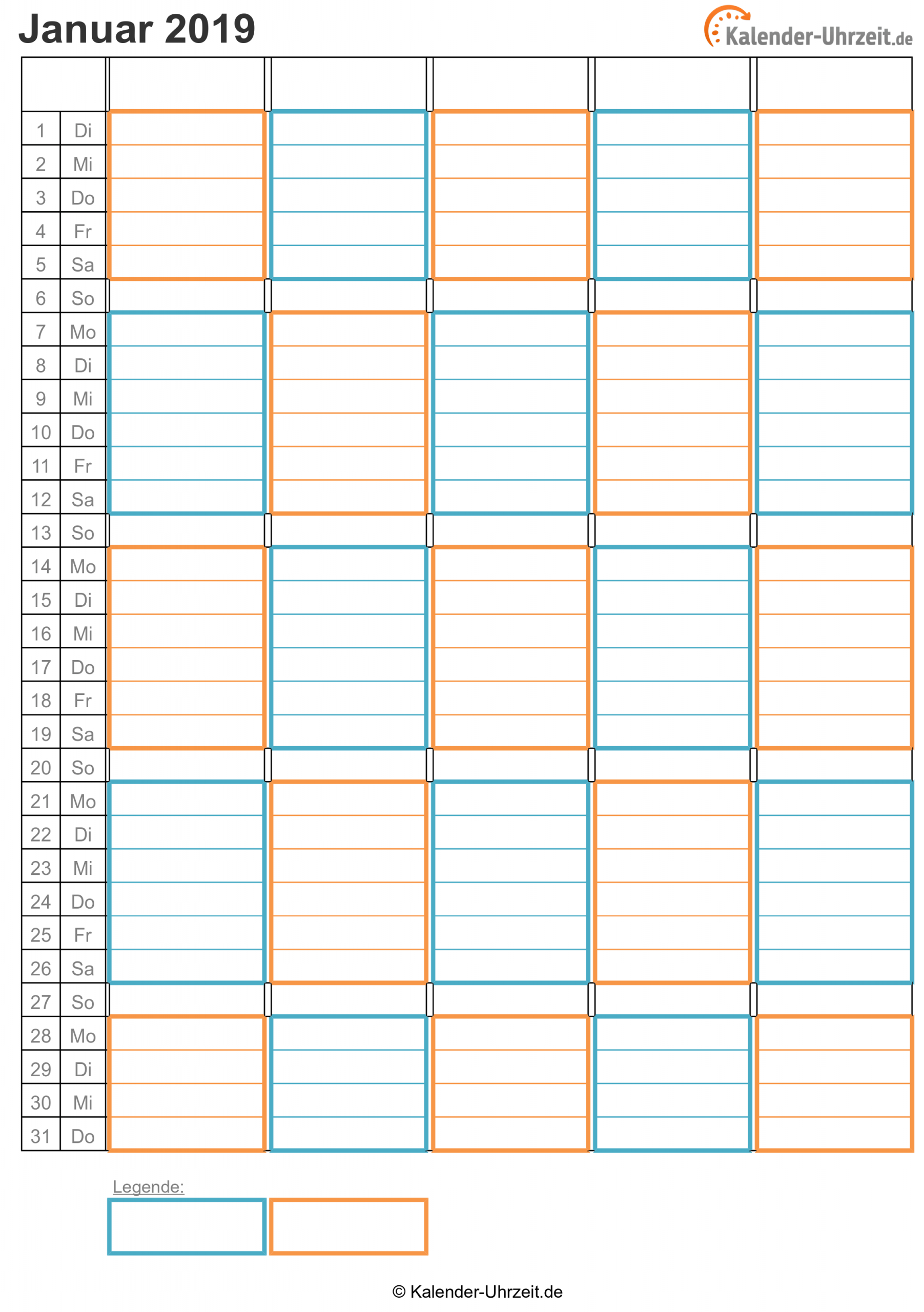 Kalender 2019 Zum Ausdrucken - Kostenlos bei Kostenlose Kalender Zum Ausdrucken