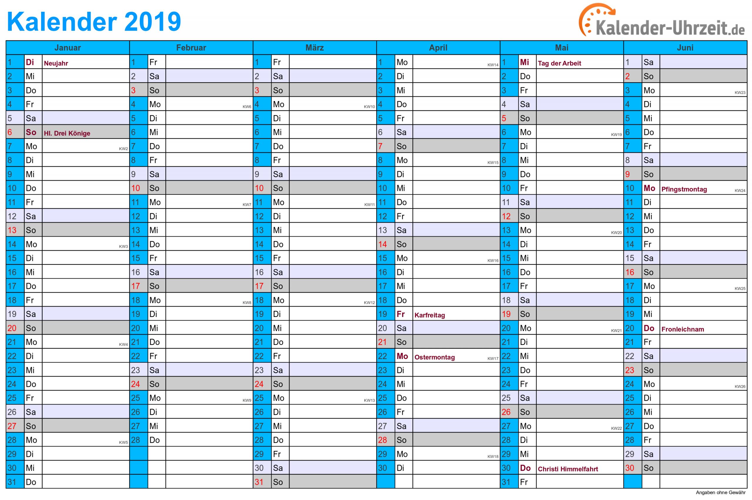 Kalender 2019 Zum Ausdrucken - Kostenlos in Online Kalender Zum Eintragen