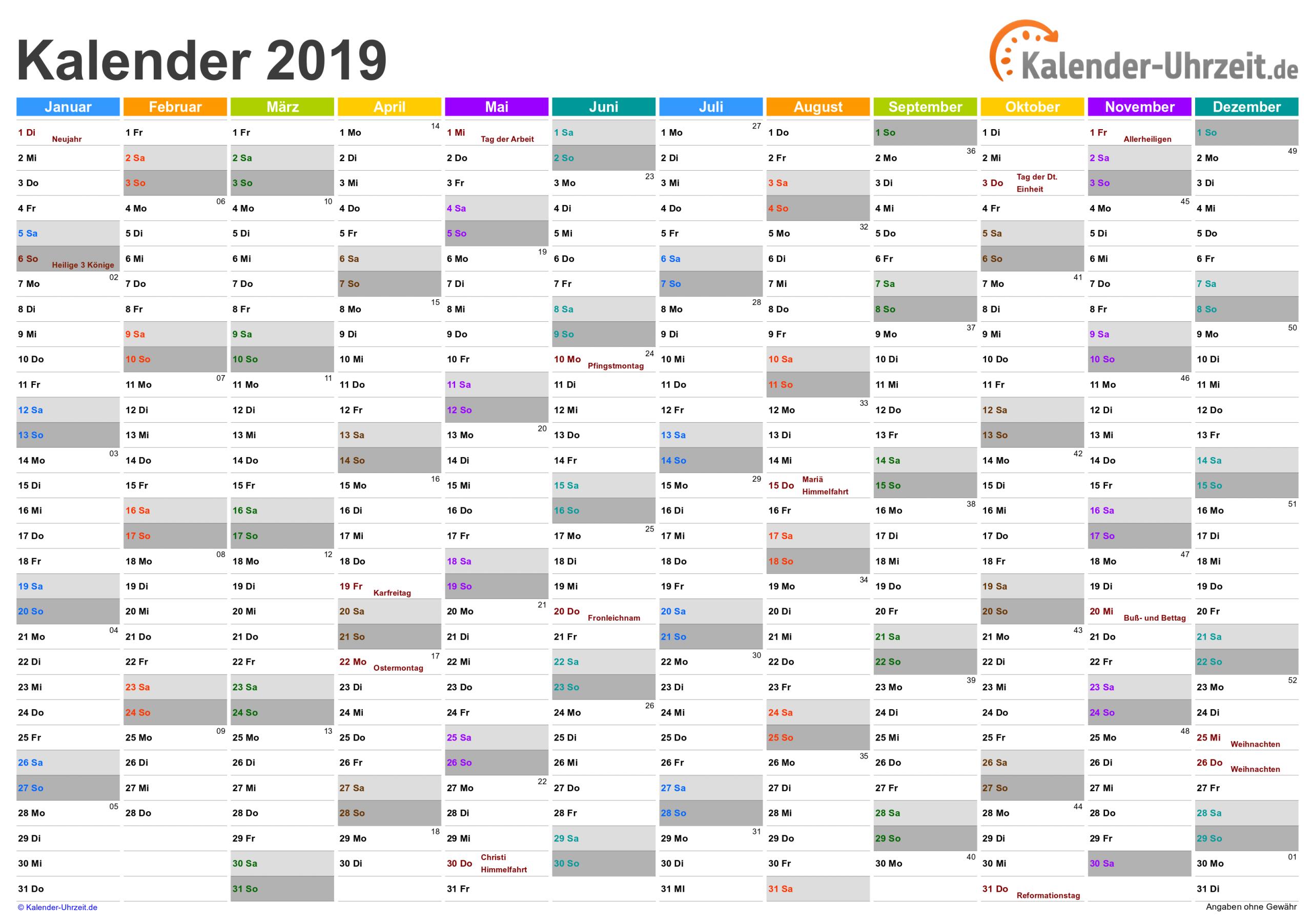 Kalender 2019 Zum Ausdrucken - Kostenlos über Kostenlose Kalender Zum Ausdrucken