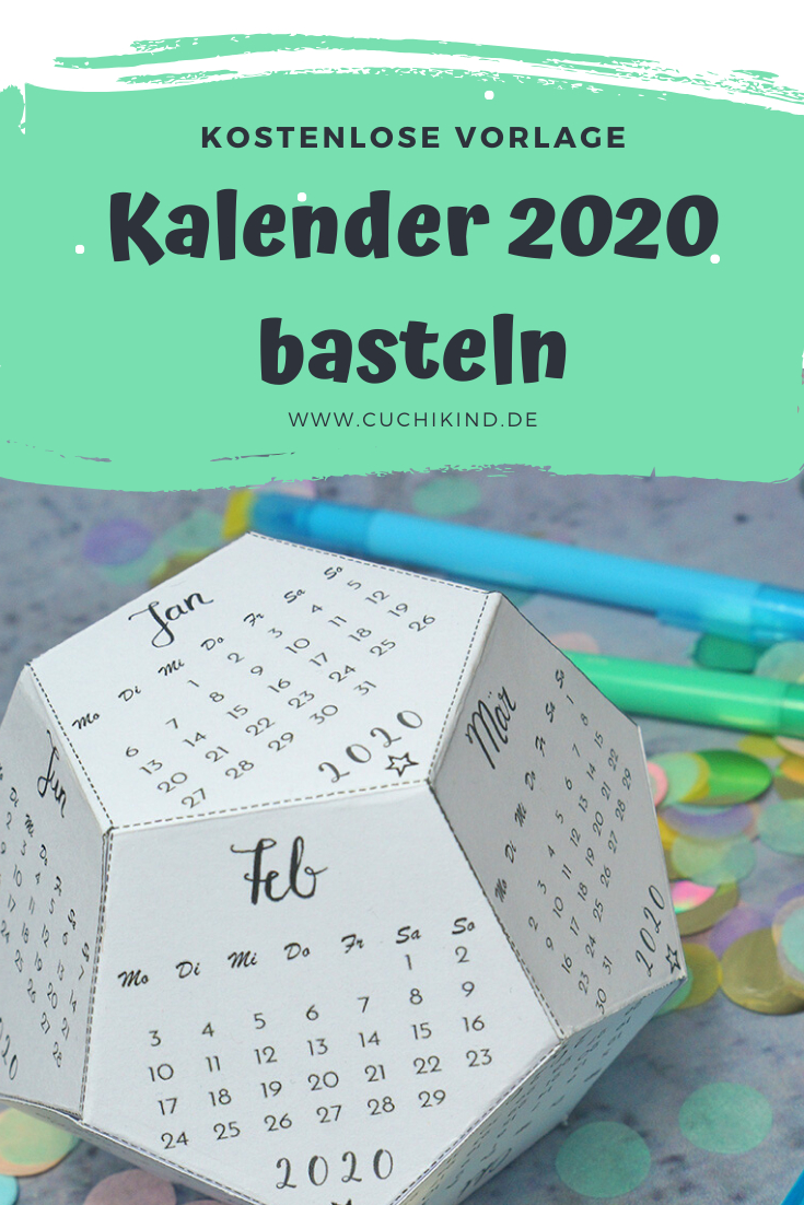 Kalender 2020 Basteln - Kostenlose Vorlage | Kalender Zum innen Kalender Zum Basteln
