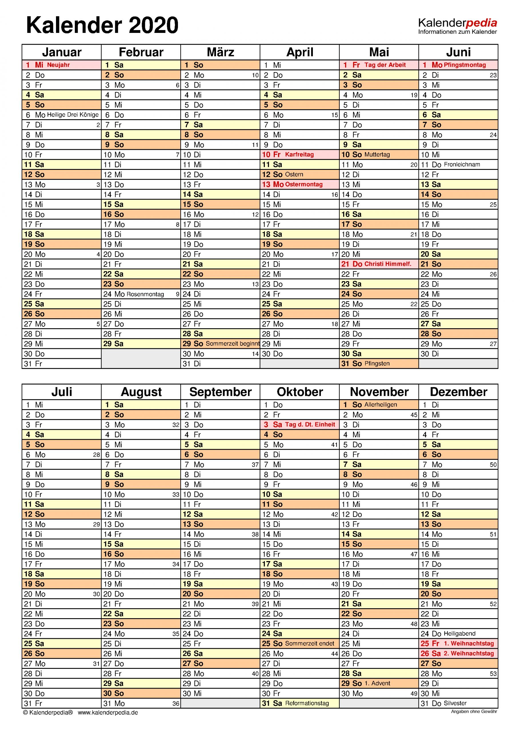 Kalender 2020 Word Zum Ausdrucken: 17 Vorlagen (Kostenlos) in Vorlage Jahreskalender