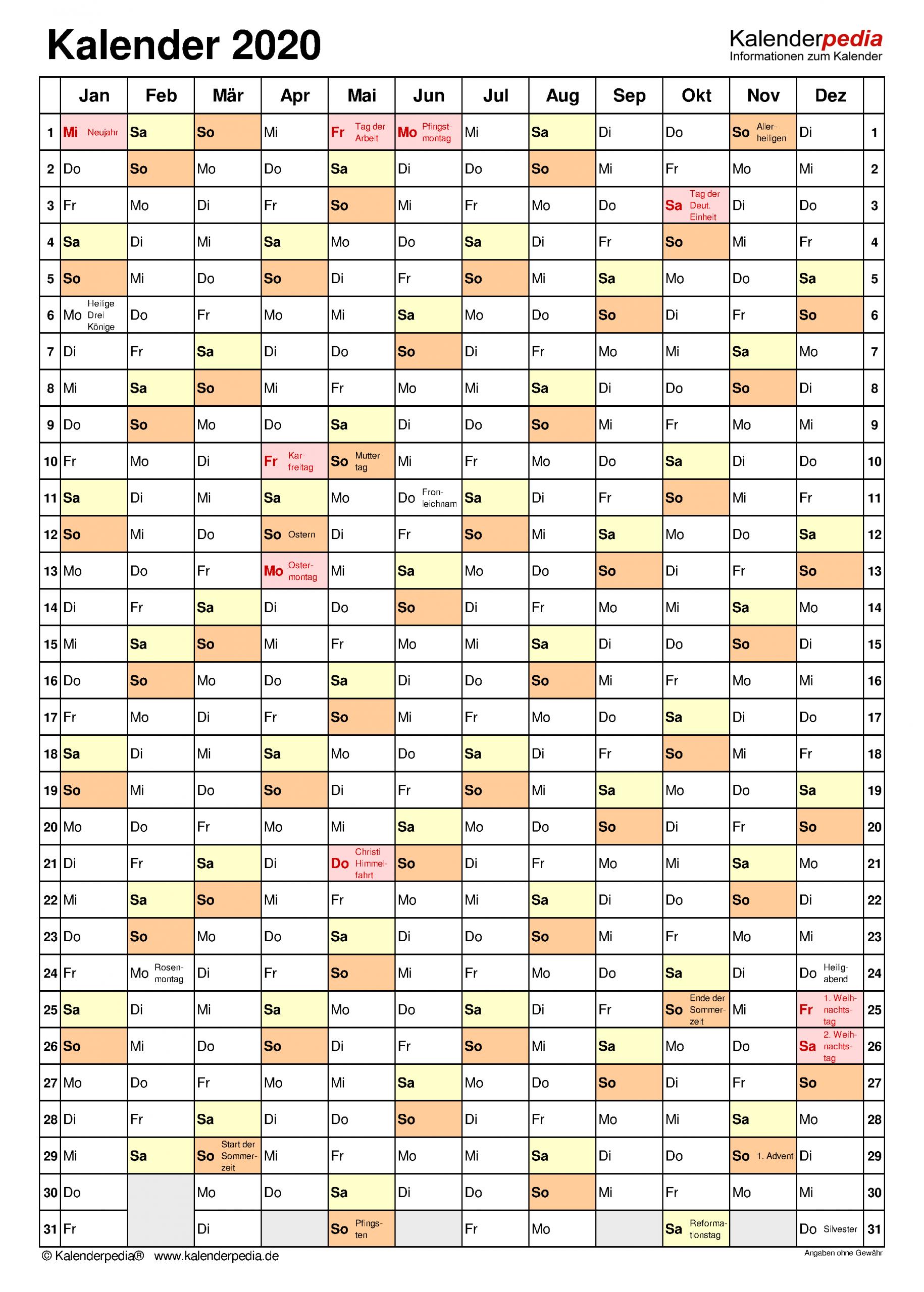 Kalender 2020 Word Zum Ausdrucken: 17 Vorlagen (Kostenlos) innen Vorlage Jahreskalender
