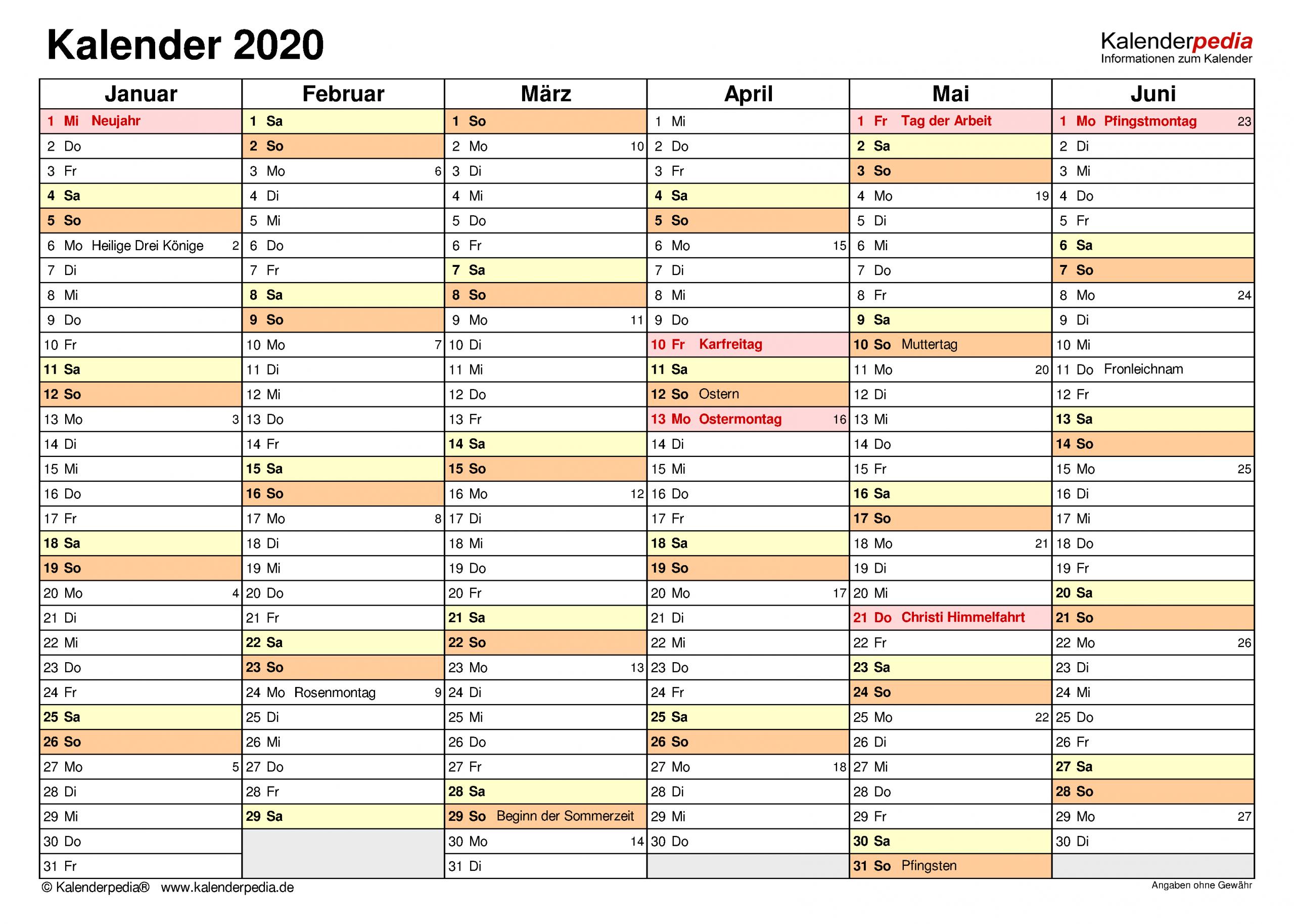 Kalender 2020 Zum Ausdrucken Als Pdf (17 Vorlagen, Kostenlos) innen Kostenlose Kalender Zum Ausdrucken