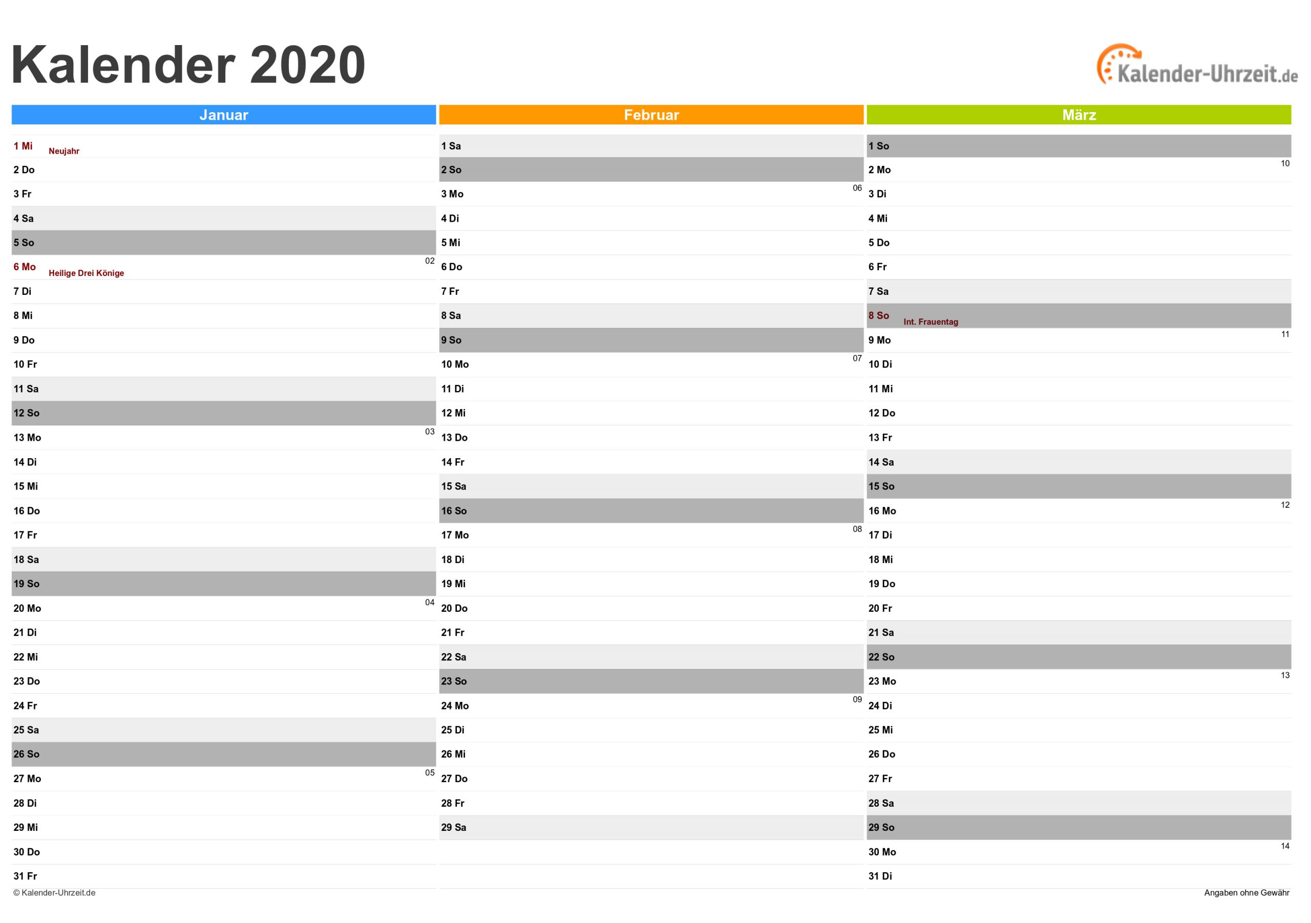 Kalender 2020 Zum Ausdrucken - Kostenlos bei Online Kalender Zum Eintragen