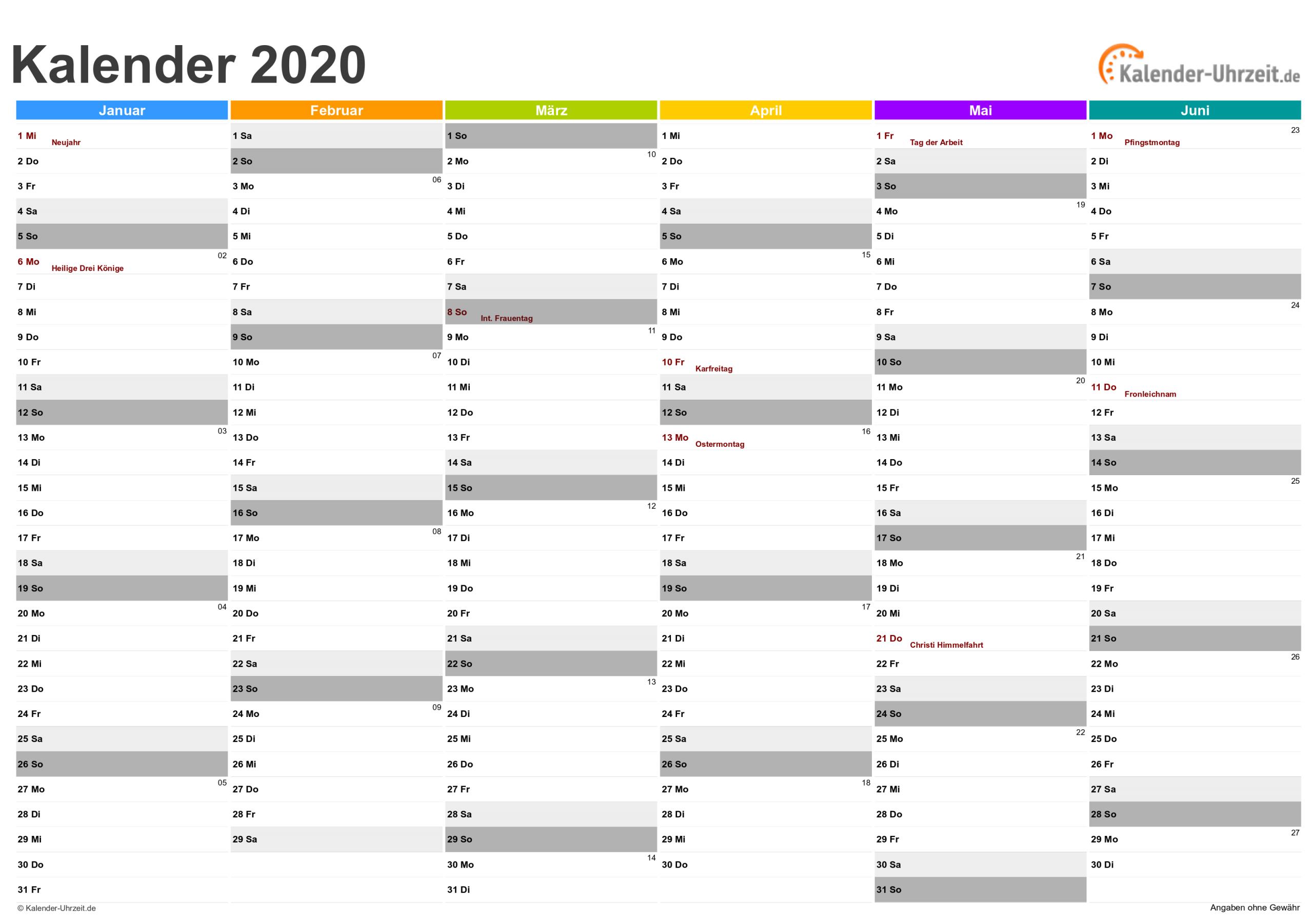 Kalender 2020 Zum Ausdrucken - Kostenlos bestimmt für Kostenlose Kalender Zum Ausdrucken