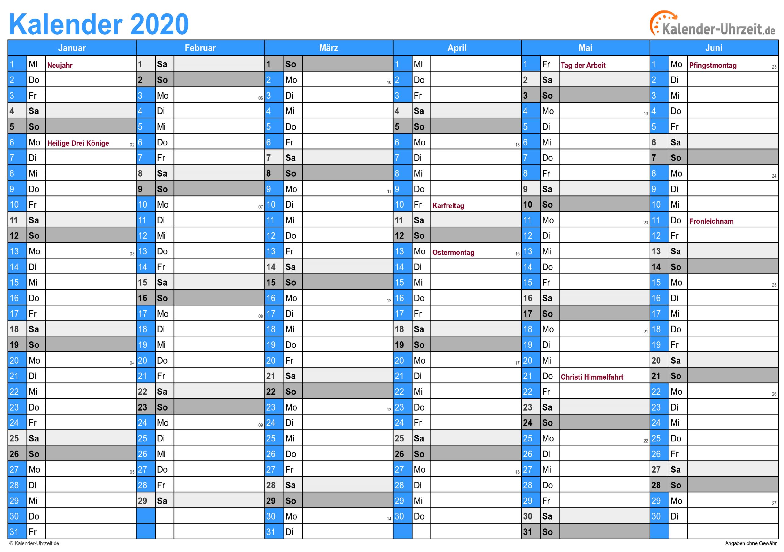 Kalender 2020 Zum Ausdrucken - Kostenlos ganzes Online Kalender Zum Eintragen
