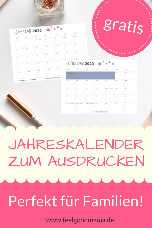 Kalender 2020 Zum Ausdrucken – Kostenlos | Jahreskalender bestimmt für Kostenlose Kalender Zum Ausdrucken