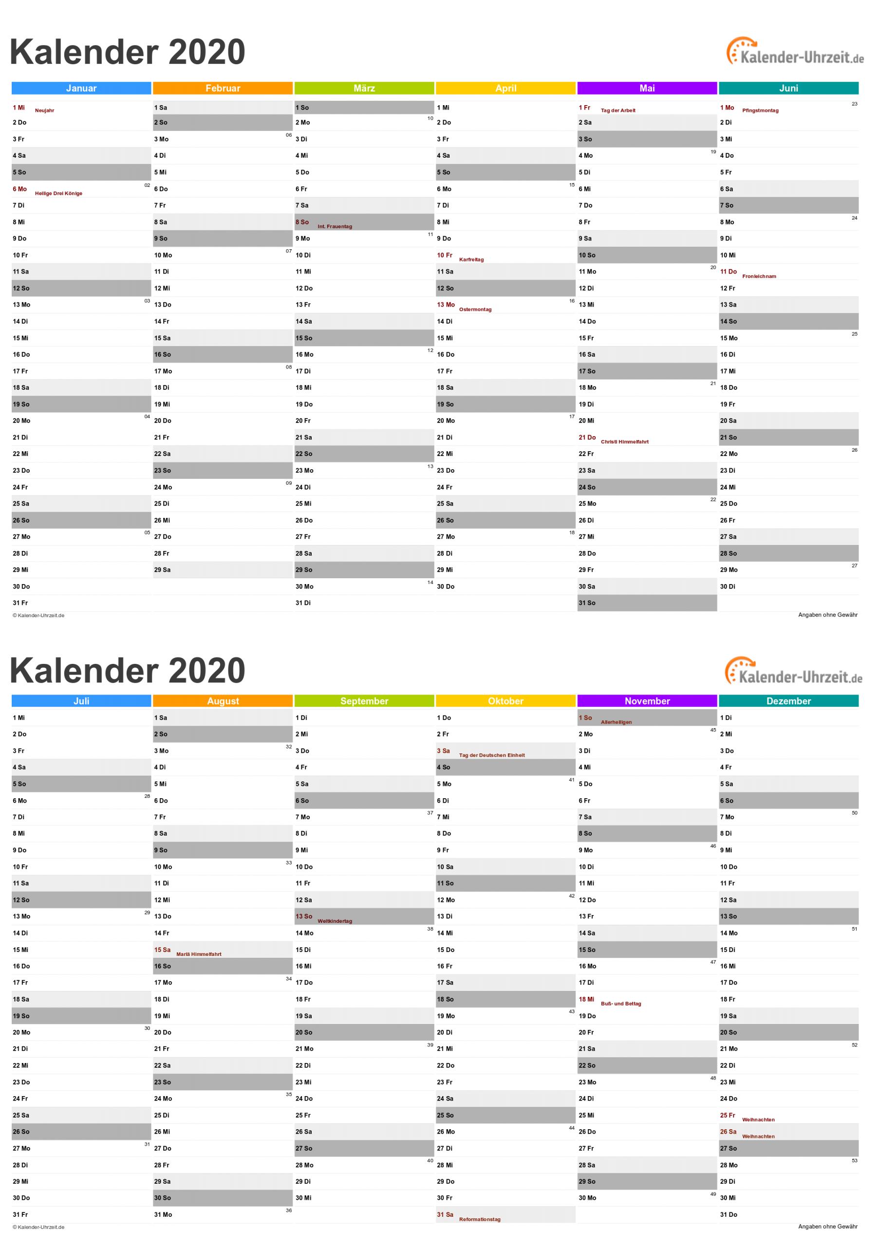 Kalender 2020 Zum Ausdrucken - Kostenlos mit Monatskalender Vorlage