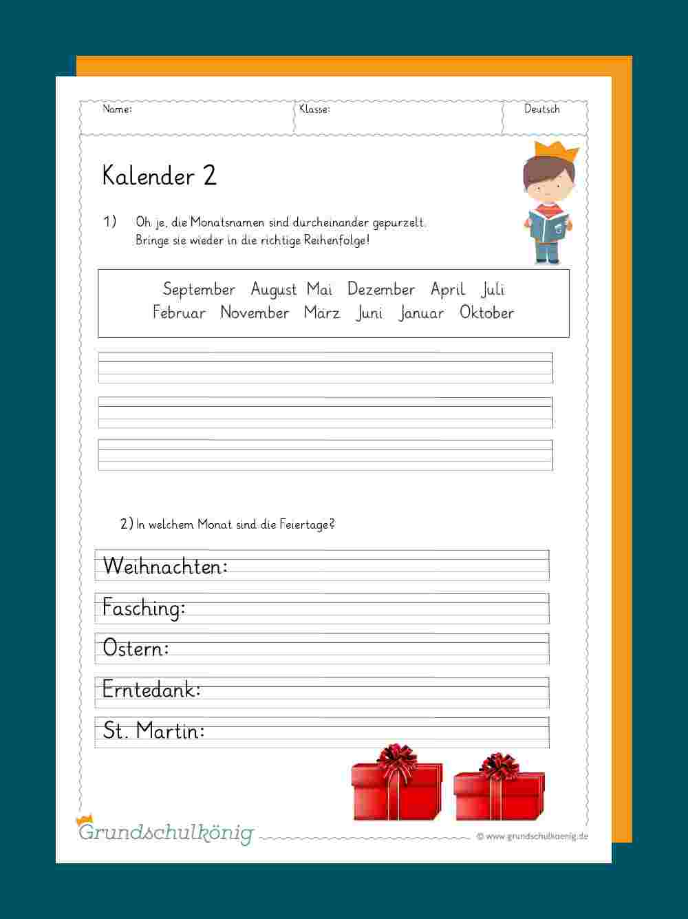 Kalender für Deutsch Übungen Klasse 2 Zum Ausdrucken
