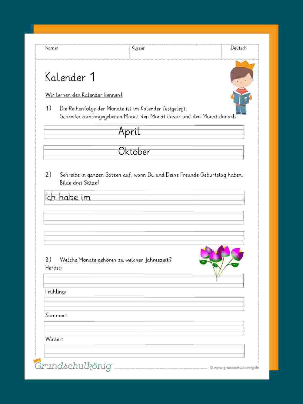 Kalender ganzes Deutsch 2 Klasse Volksschule Übungsblätter