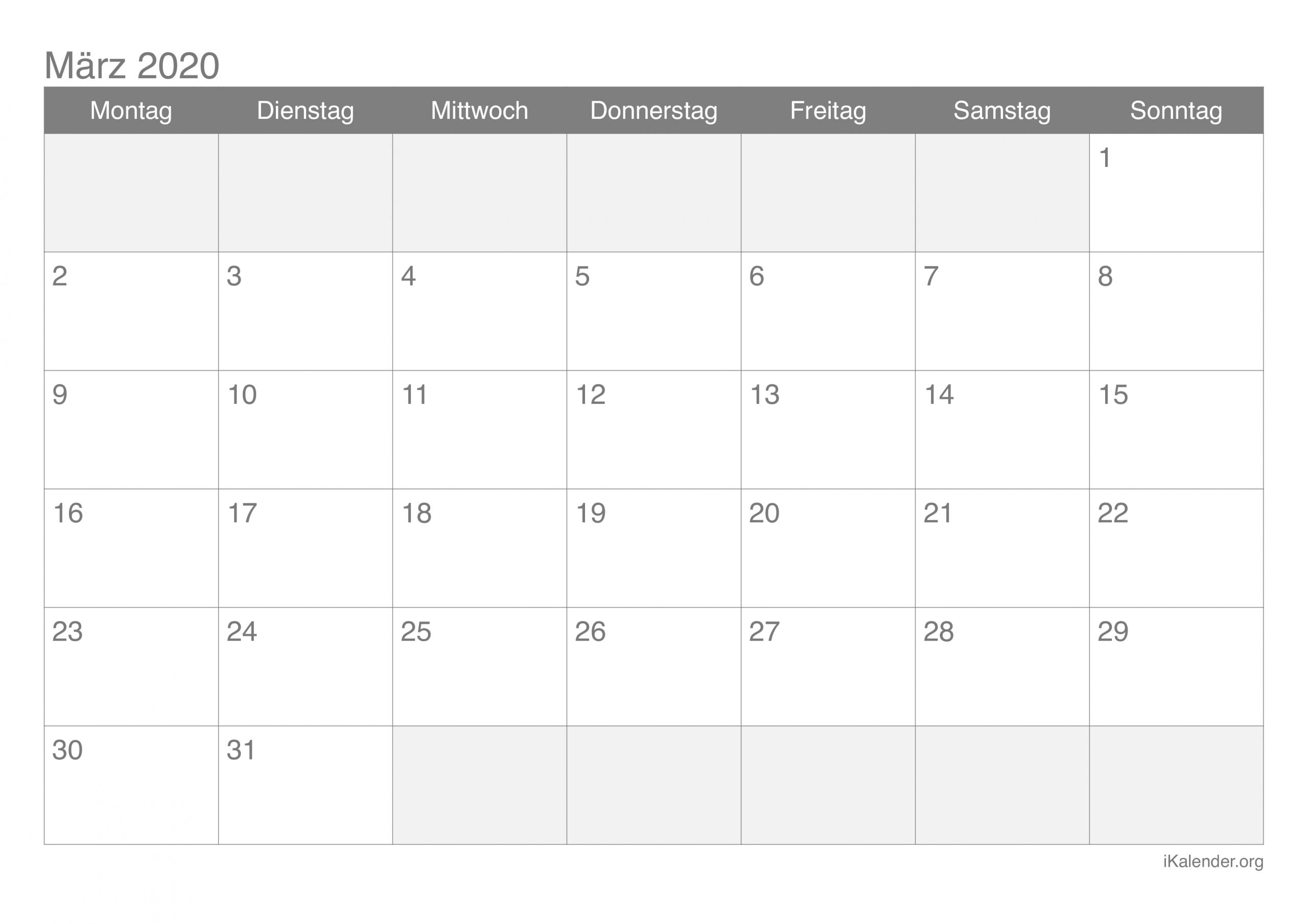 Kalender März 2020 Zum Ausdrucken - Ikalender bei Online Kalender Zum Eintragen
