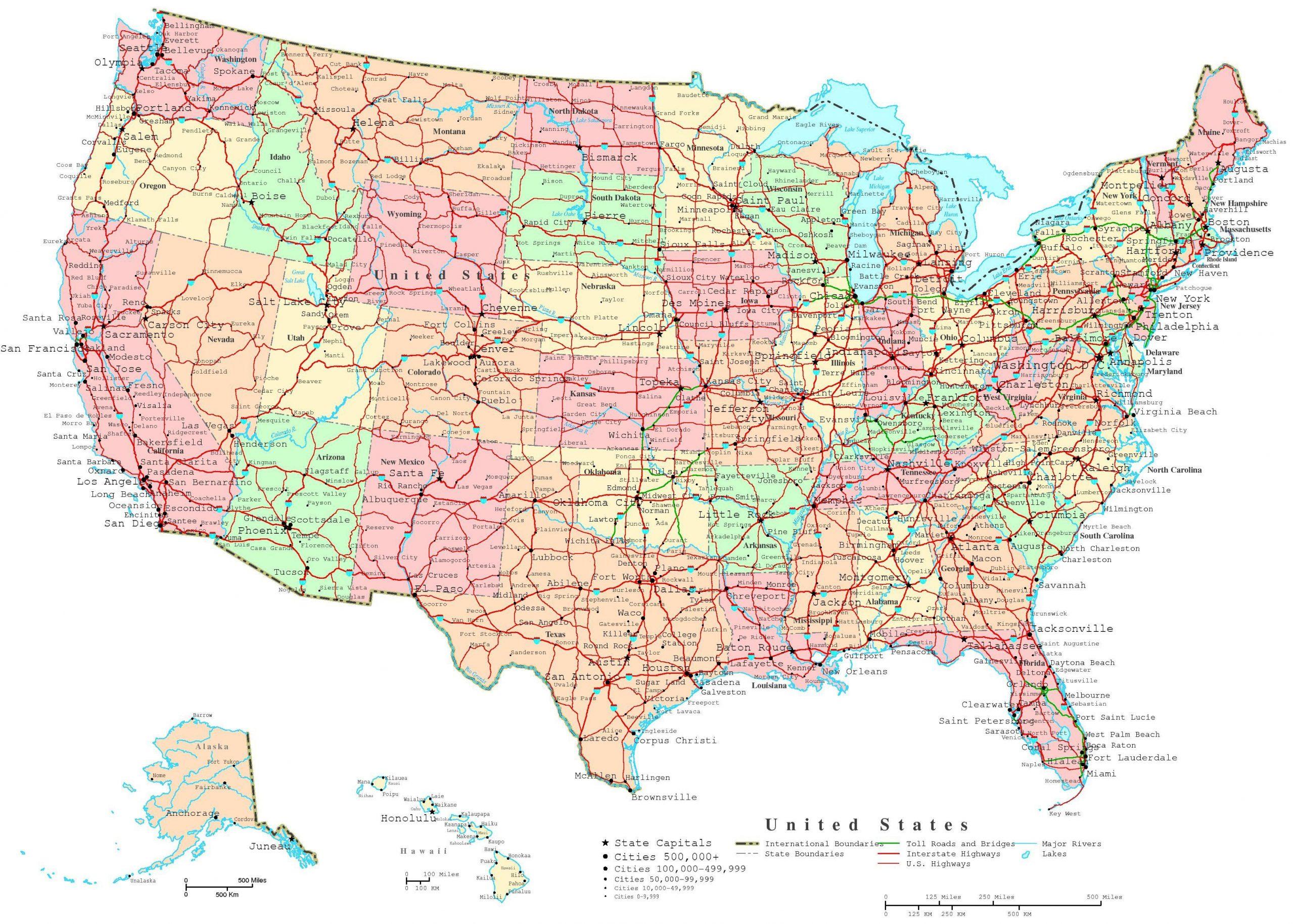 Karte Der Vereinigten Staaten Mit Städte - Vereinigte bei Nordamerika Karte Mit Staaten Städte
