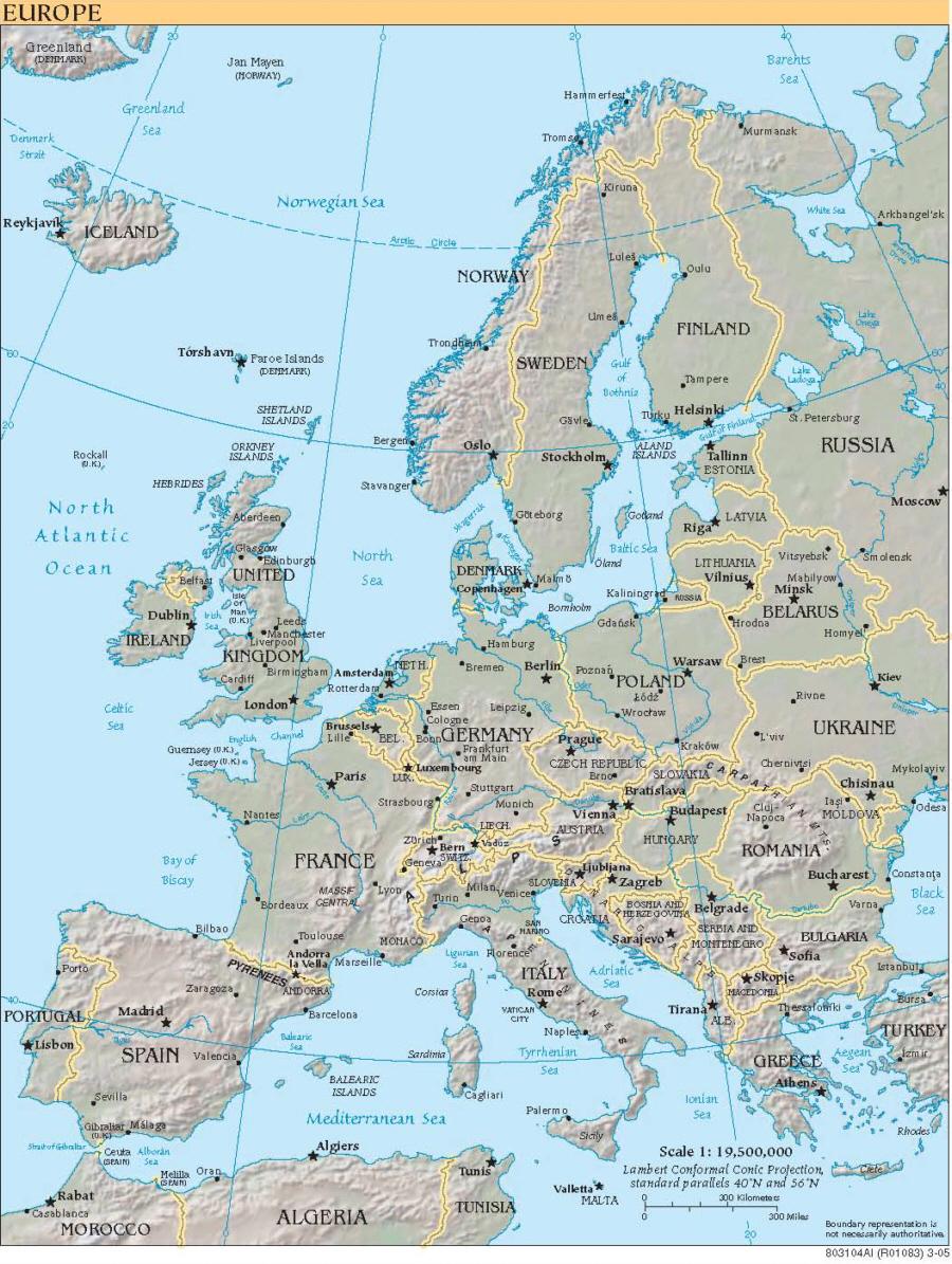 Karte Von Europa (Engl. Beschriftung) - Medienwerkstatt über Karte Europa Ohne Beschriftung
