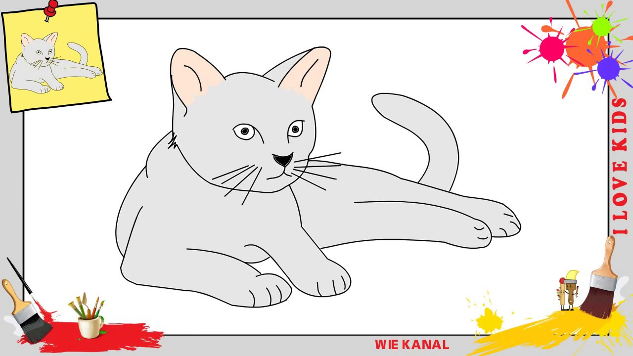 Katze Zeichnen 2 Schritt Für Schritt Für Anfänger & Kinder - Zeichnen  Lernen Tutorial über Katze Zeichnen Lernen