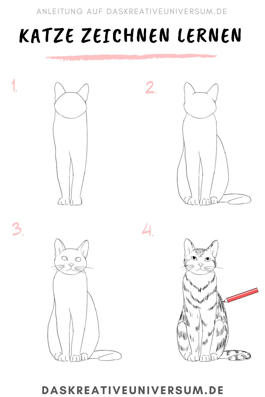 Katze Zeichnen Lernen - 5 Schritt Anleitung Für Schöne mit Katze Malen Einfach