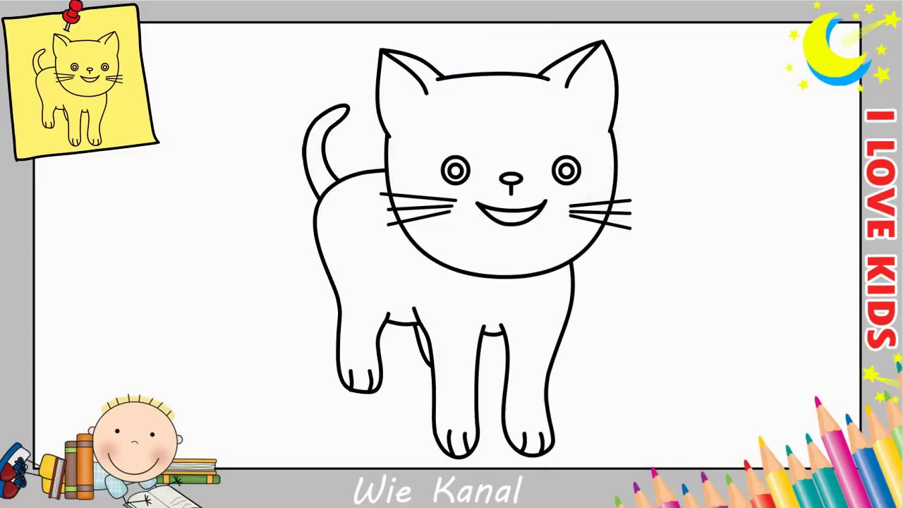 Katze Zeichnen Lernen Einfach Schritt Für Schritt Für Anfänger & Kinder 4 mit Katze Malen Einfach