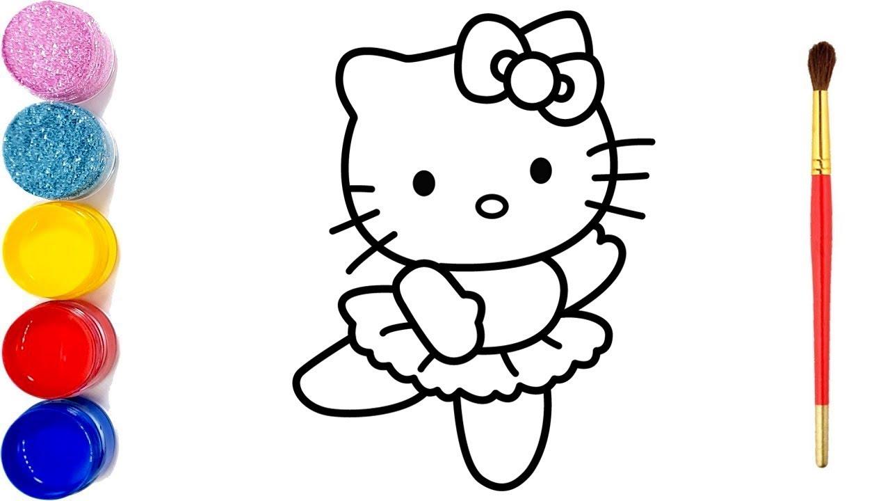 Katze Zeichnen Und Malen Hello Kitty Glitter | Künstlerische Farben Für  Kinder in Hello Kitty Zeichnen