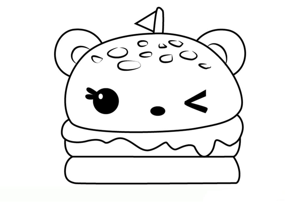 Kawaii Ausmalbilder. Drucken Sie Ungewöhnliche Zeichen ganzes Ausmalbilder Essen
