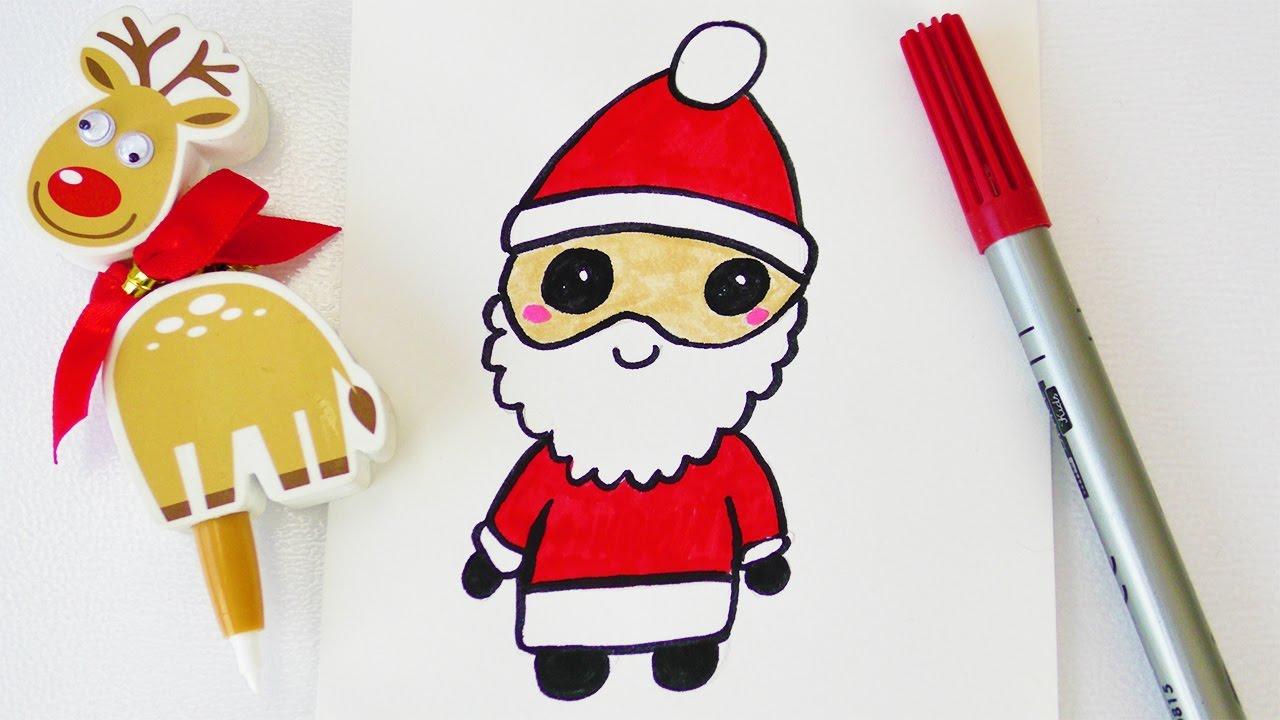Kawaii Weihnachtsmann Zeichnen   Süßer Nikolaus Als Weihnachtsdeko Oder Zum  Verschenken bei Weihnachtsmann Malen
