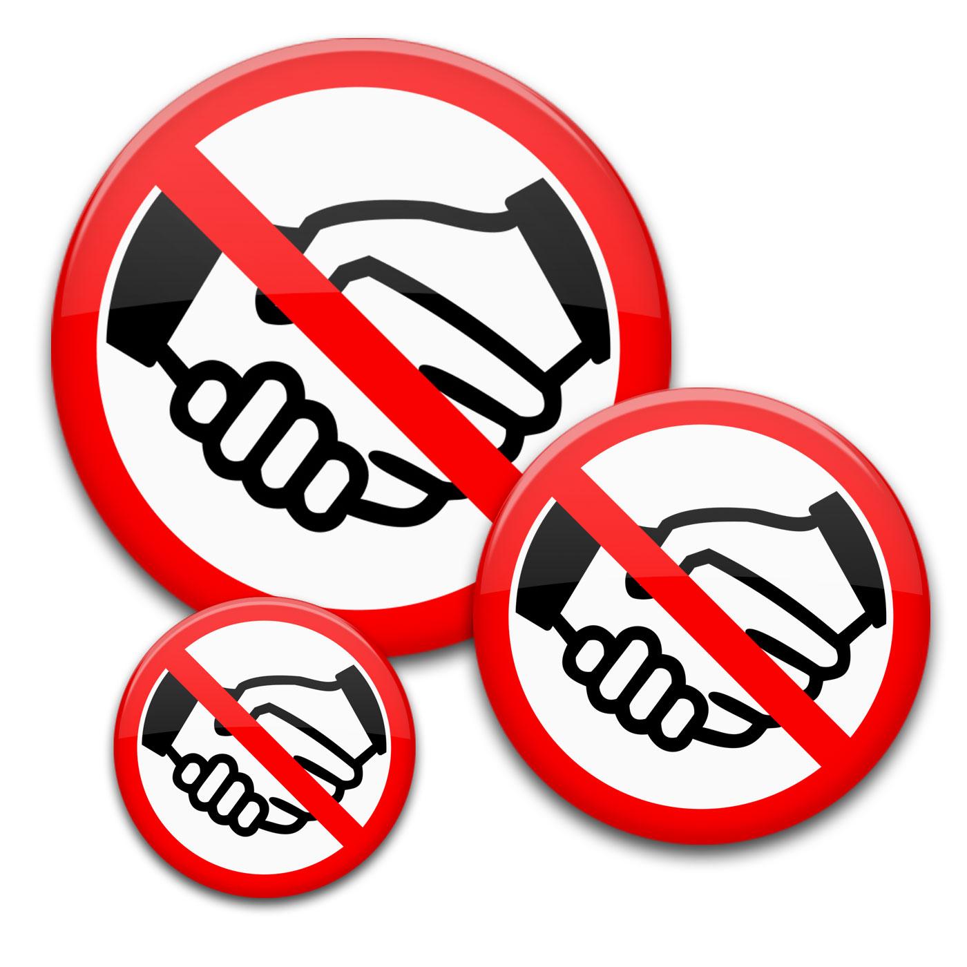 Kein Händeschütteln Buttons   No-Handshake ganzes Buttons Vorlagen