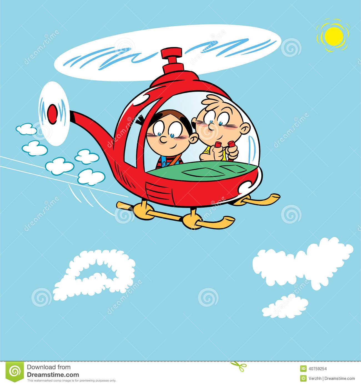Kinder In Einem Hubschrauber Vektor Abbildung - Illustration mit Hubschrauber Für Kinder
