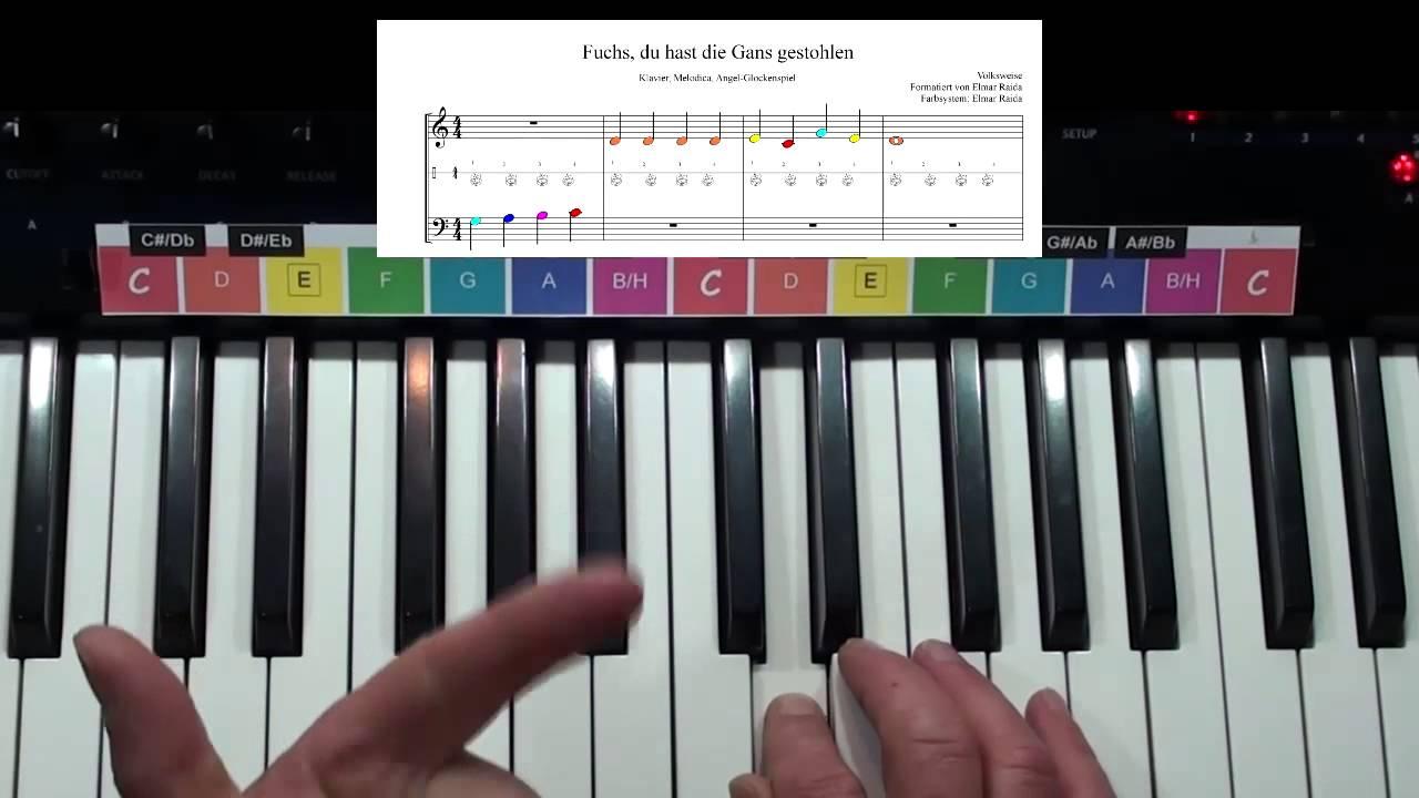 Kinder Kids Klavier Piano Fuchs Du Hast Die Gans Gestohlen über Fuchs Du Hast Die Gans Gestohlen Noten