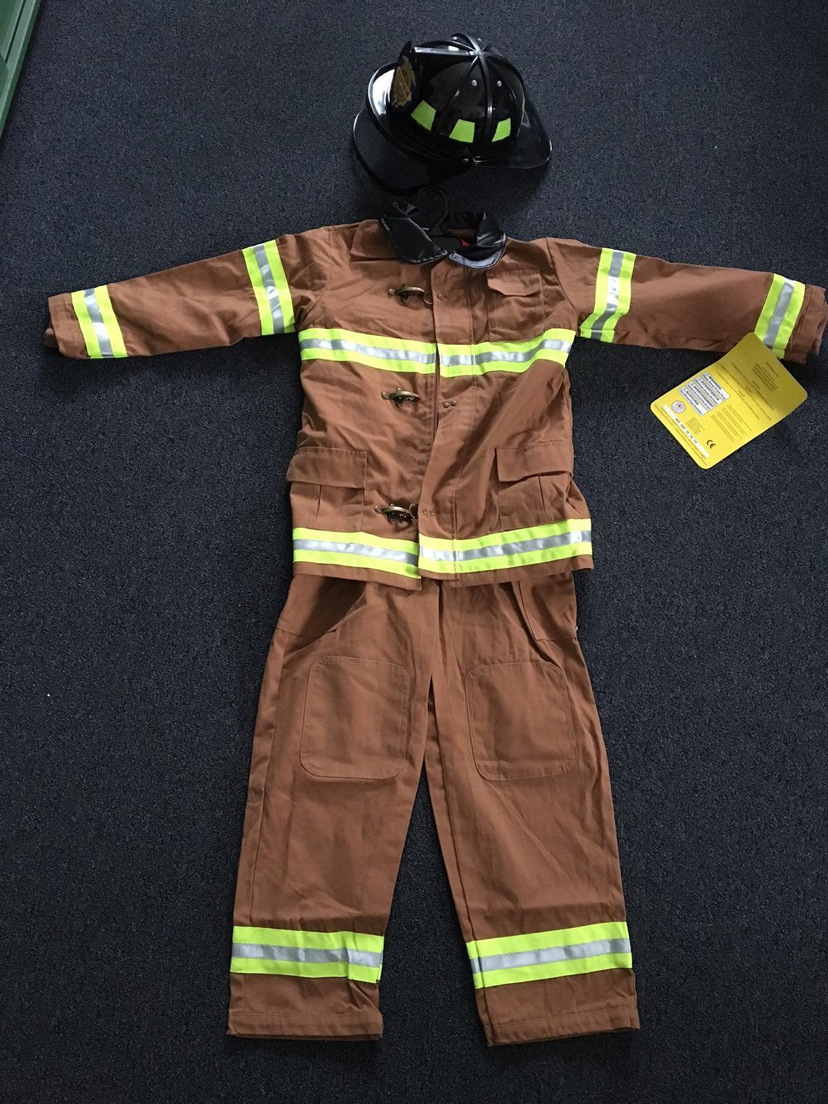 Kinder Us Feuerwehrmann-Kostüm Braun - Kinder-Feuerwehranzug bei Kinder Feuerwehrkleidung