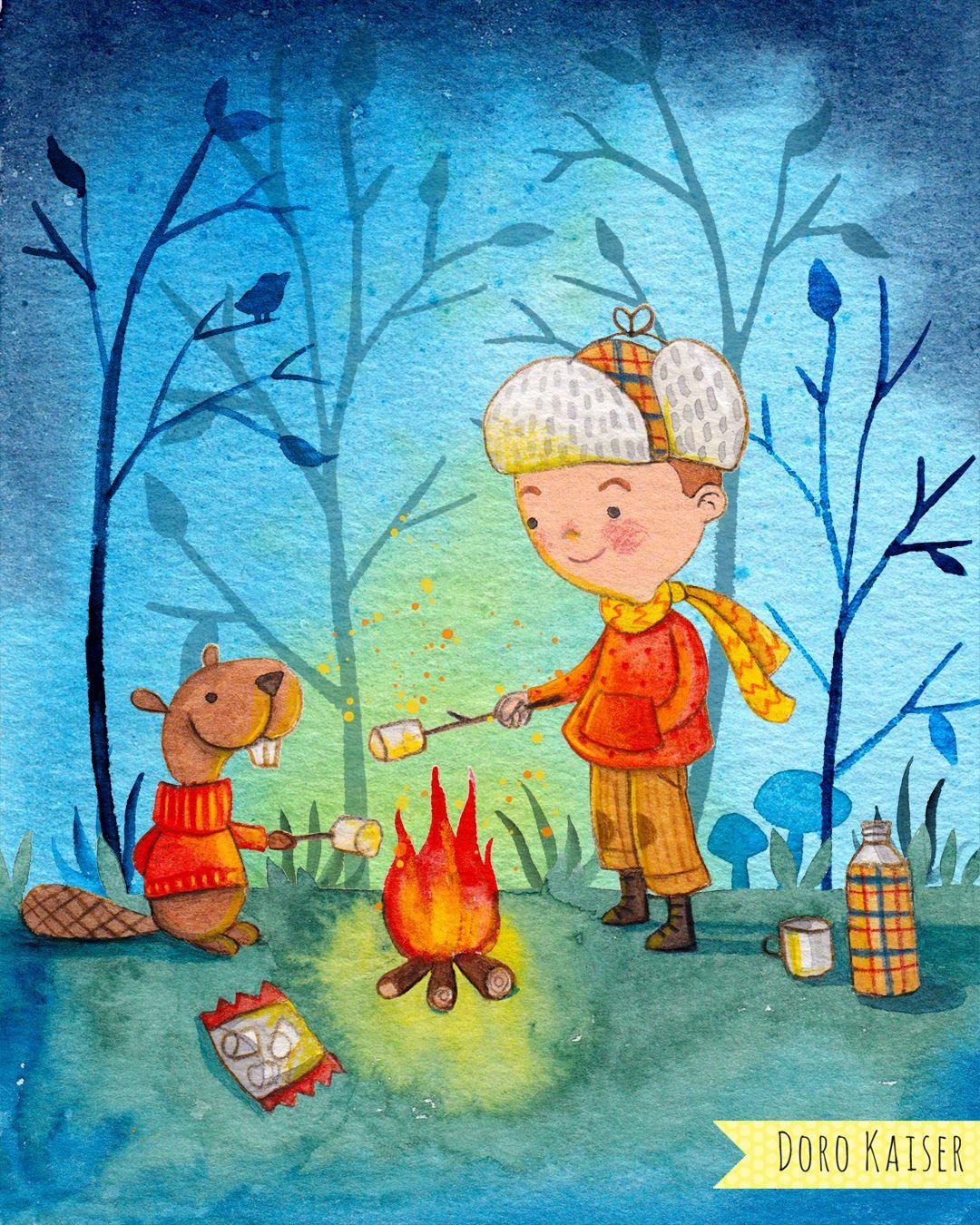 Kinderbild / Illustration Mit Kleinem Jungen, Bieber Und bestimmt für Kinderbilder Malen