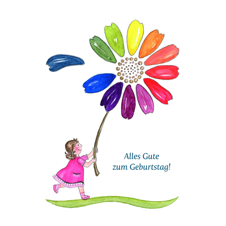 Kindergeburtstagskarte - Blumenmädchen ganzes Kindergeburtstagskarte