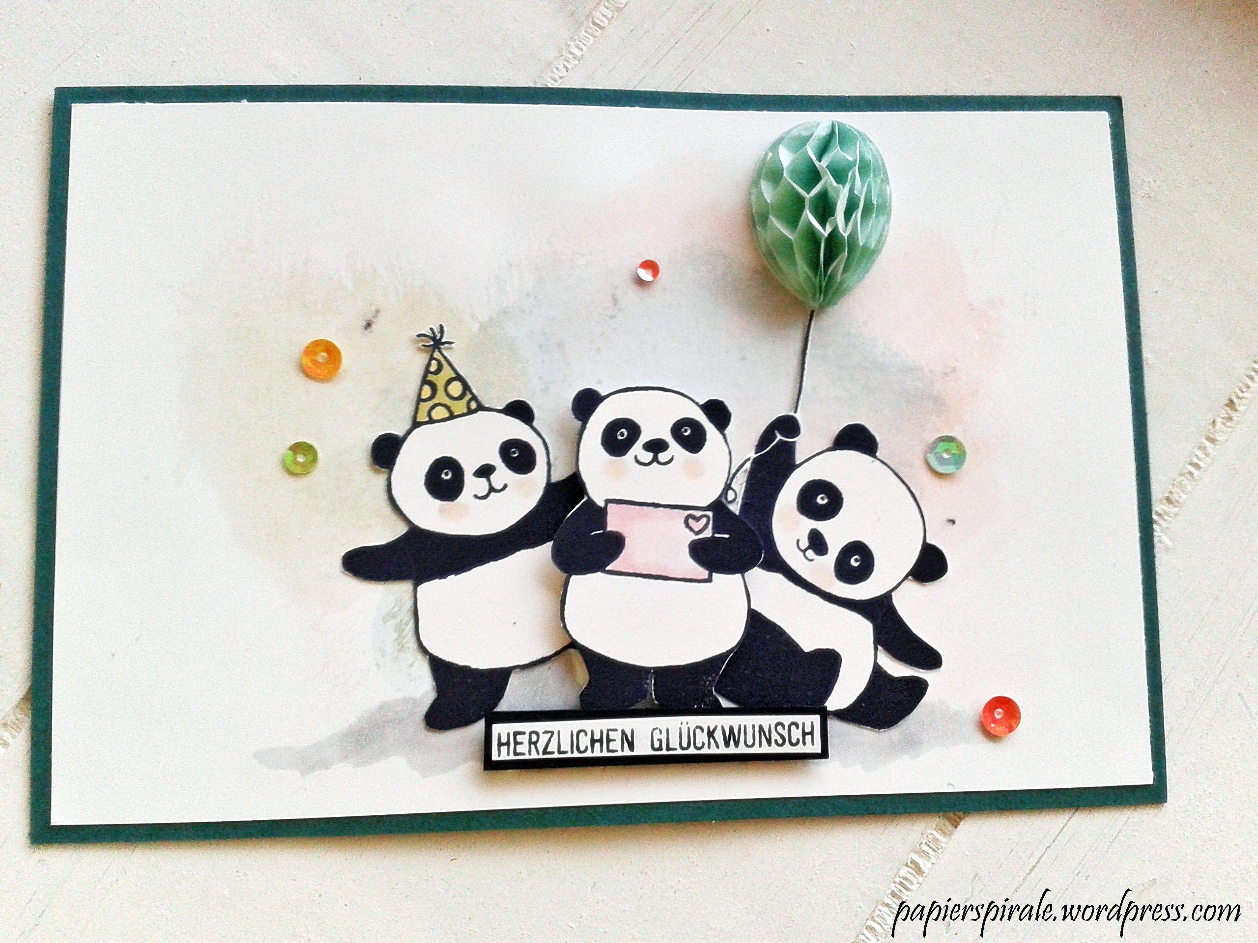 Kindergeburtstagskarte Mit Den Party-Pandas | Panda Card bestimmt für Kindergeburtstagskarte